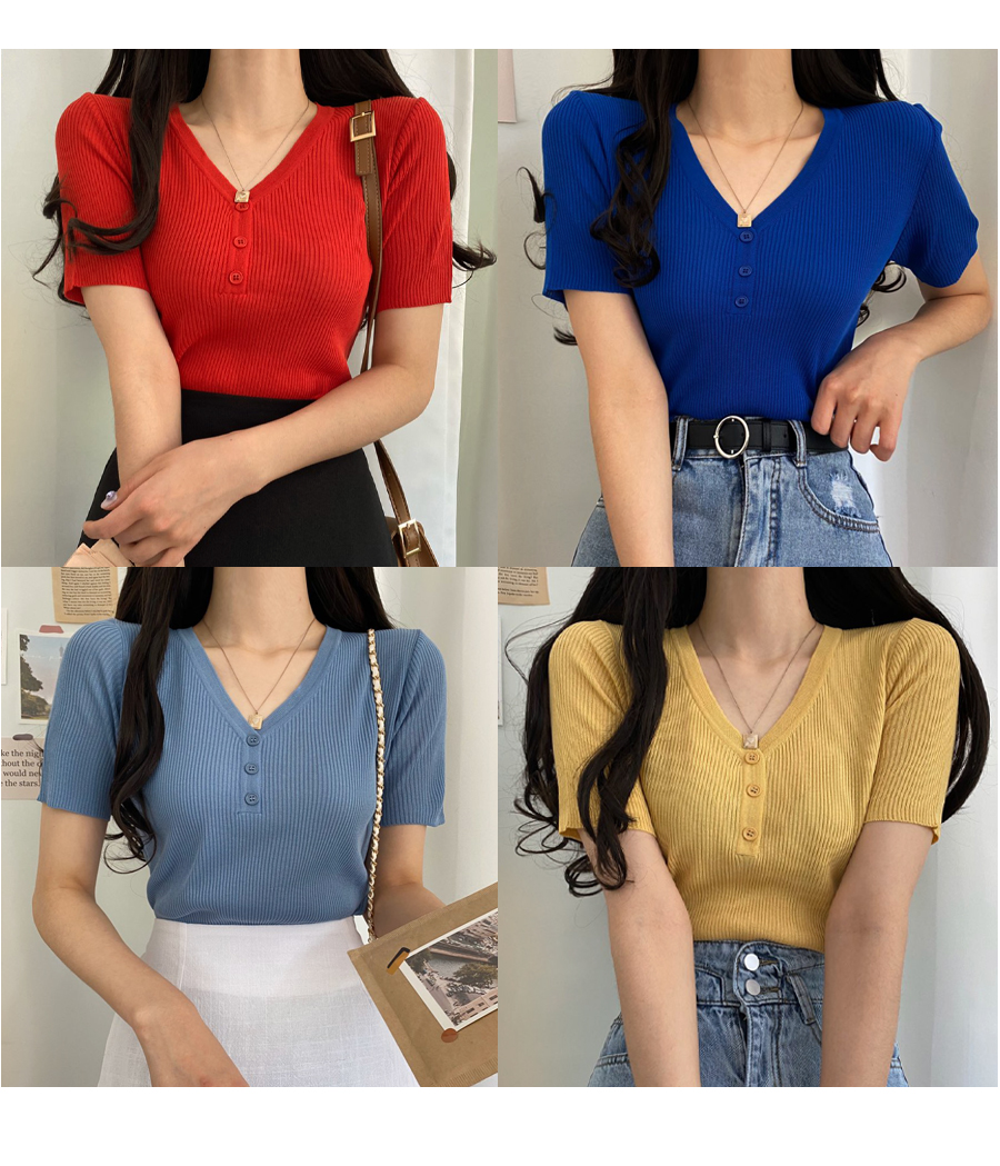 Button V-Neck Short Sleeve Knitwear