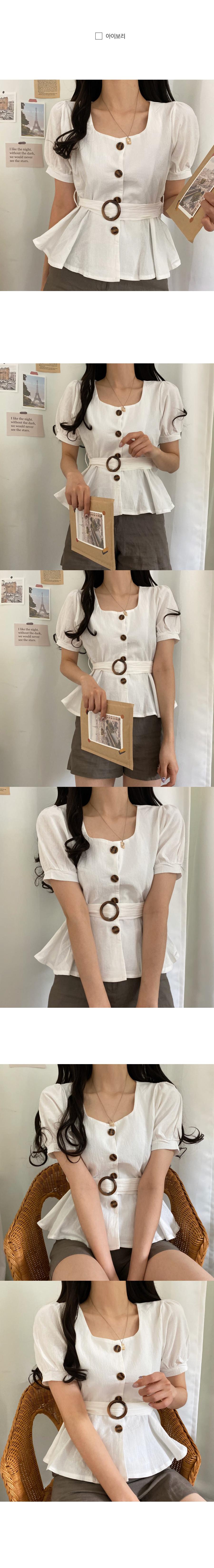 Belted flared linen short-sleeved blouse