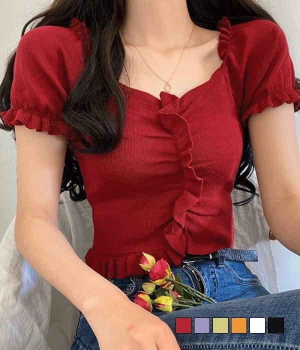 Midori Ruffle Crop Two-Way Short Sleeve Knitwear