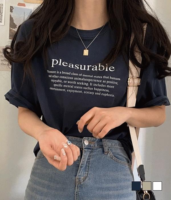 Pleasure lettering short-sleeved T-shirt