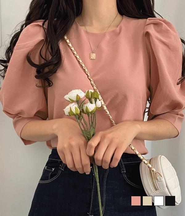Lady puff chiffon blouse