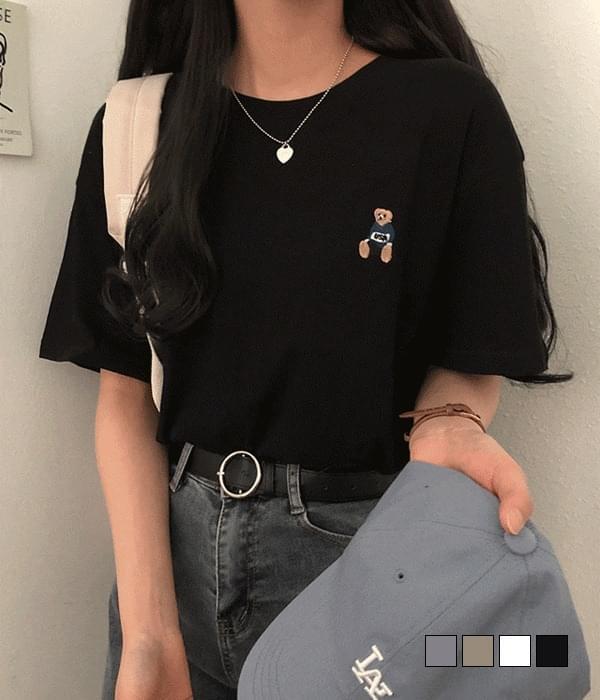 큐티 리틀 베어 자수 반팔 티셔츠