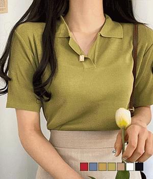 Soul Collar Short Sleeve Knitwear