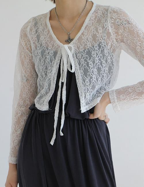 韓國空運 - Lace ribbon cardigan 針織外套