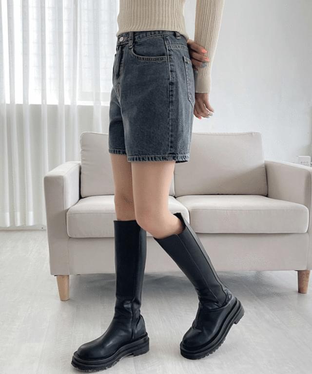 Fret denim short pants