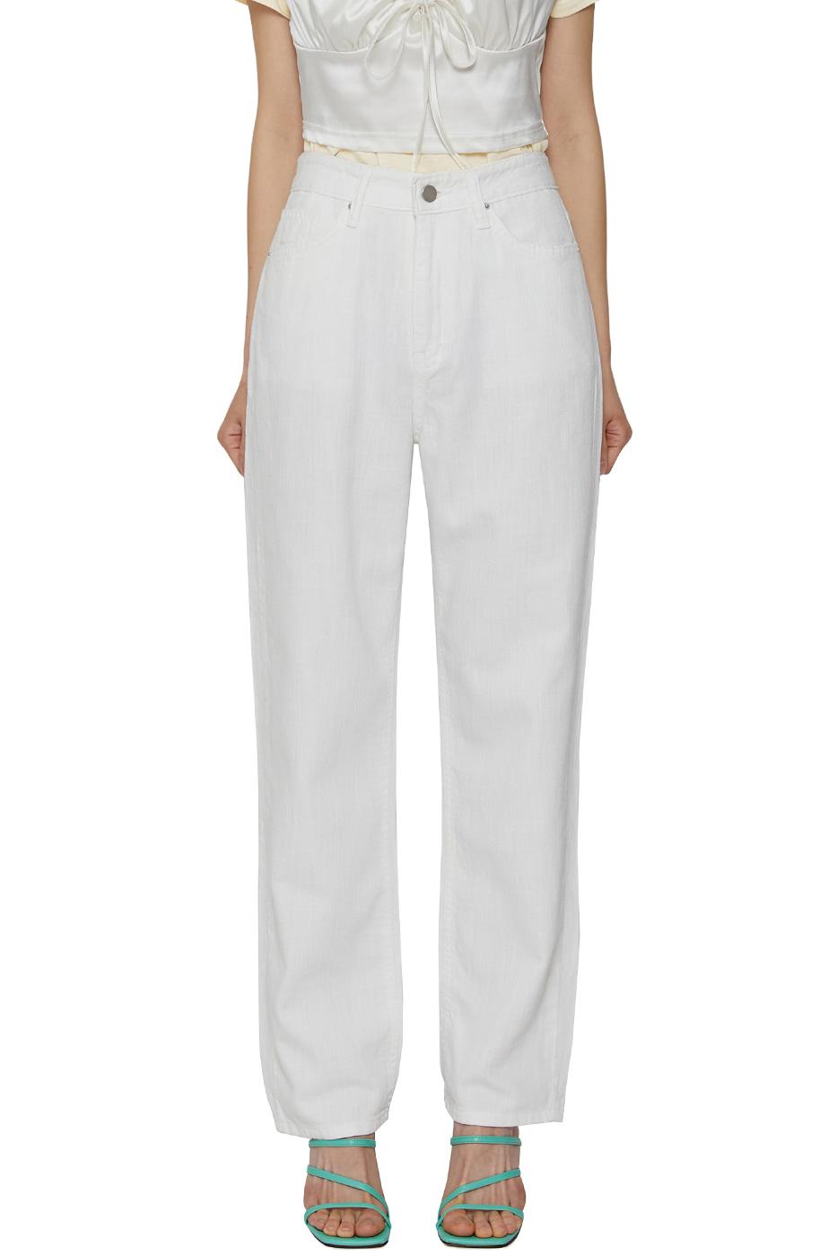 White linen straight jeans