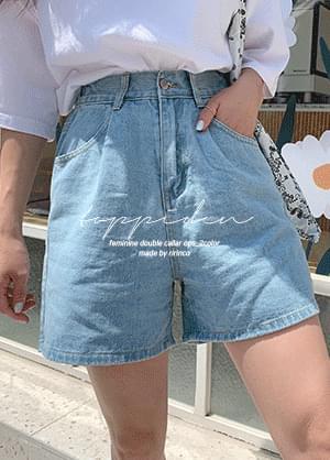Topiden back banding denim short pants