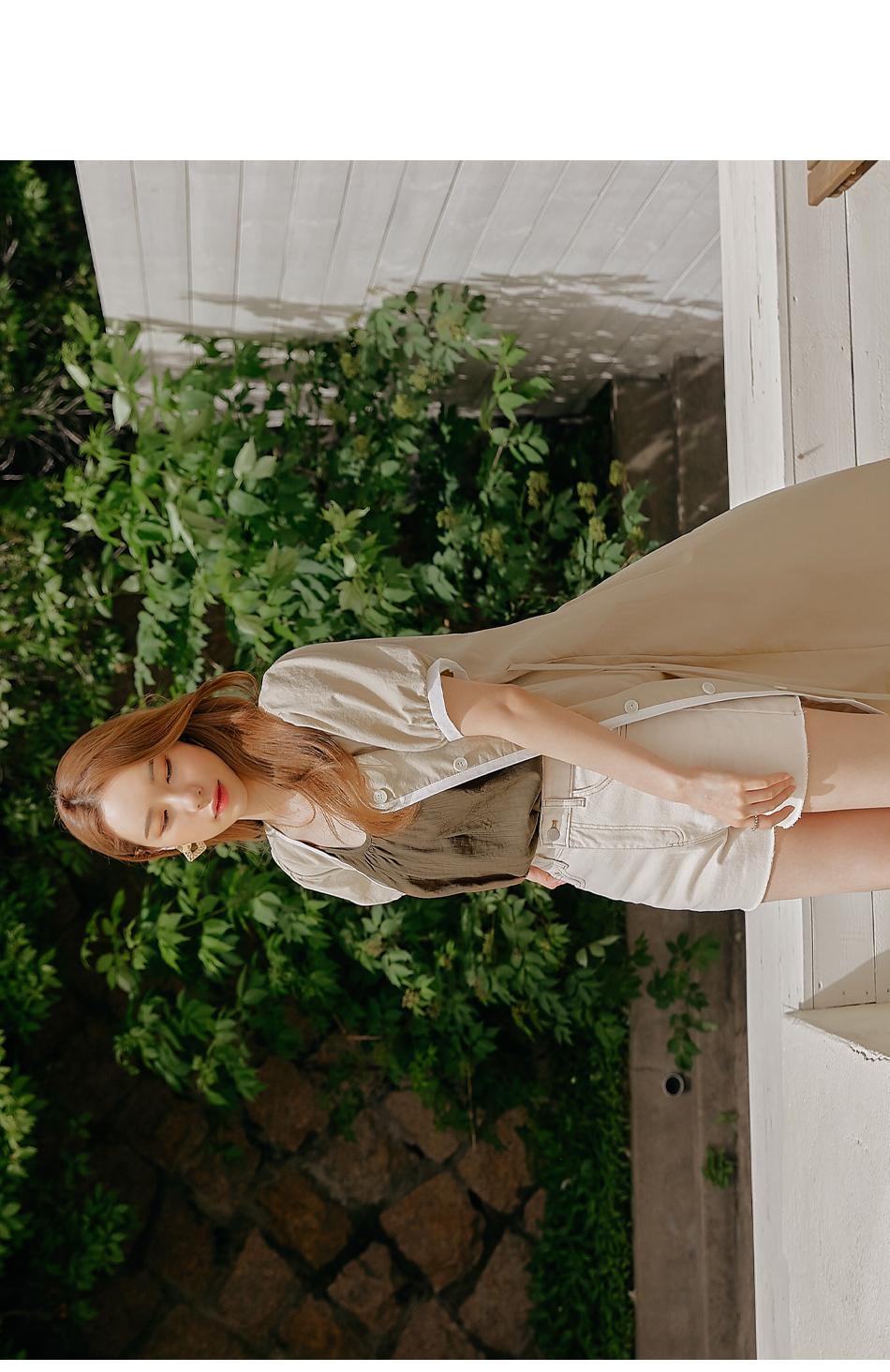 Contrast Edge A-Line Long Dress