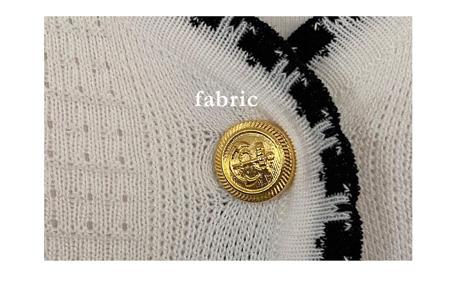 Tweed feel waffle gold short sleeve cardigan