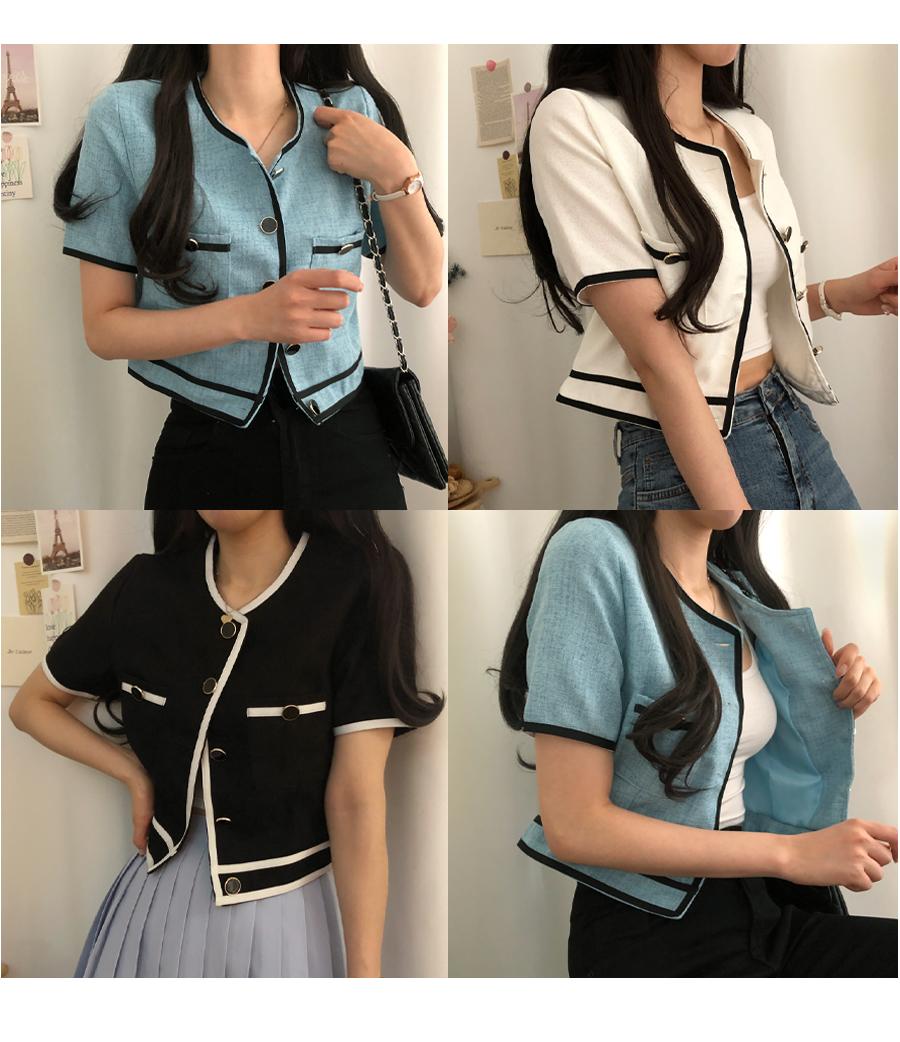 Camilla linen color matching short sleeve jacket
