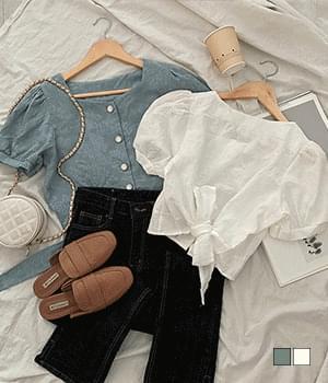Back ribbon zalloc cropped jagared blouse