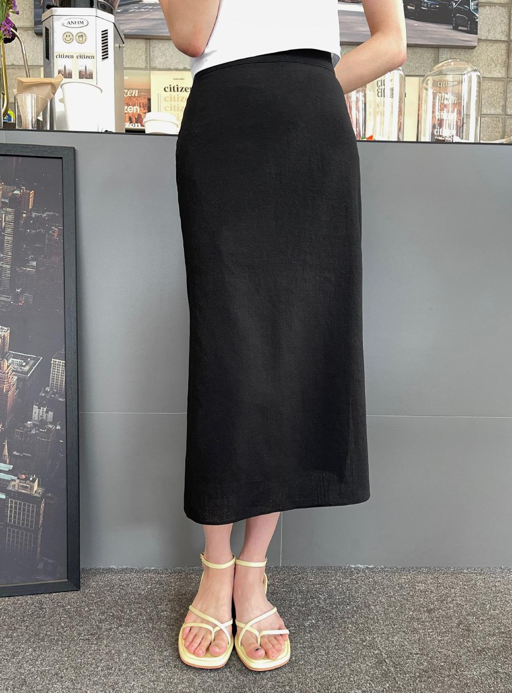 Marang back banding slit long skirt
