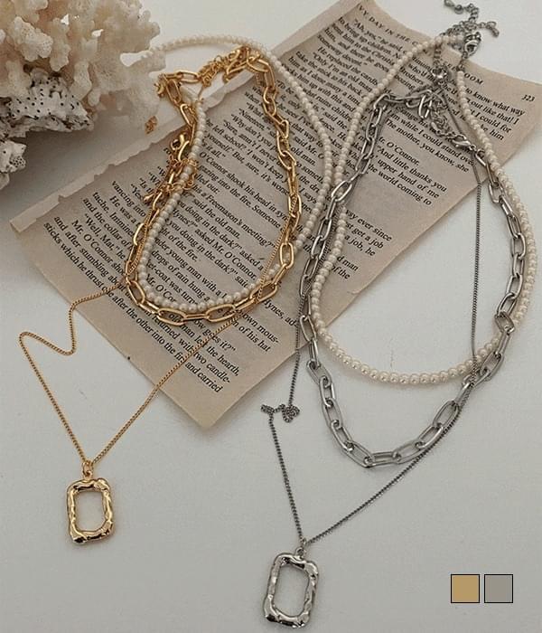 Square Pearl Chain Choker 3PC Necklace Set