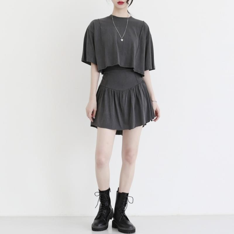 Dove short-sleeved skirt two-piece set