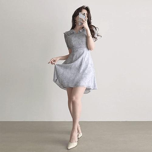 Thin Ruffle Collar Short Sleeve Puff Fine Flower Chiffon Dress