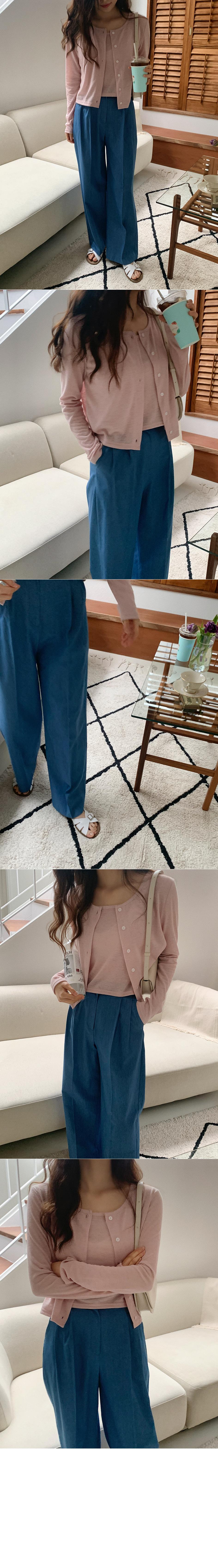 Featured denim slacks