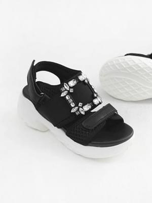 Bold Cubic Velcro Sandals 7cm