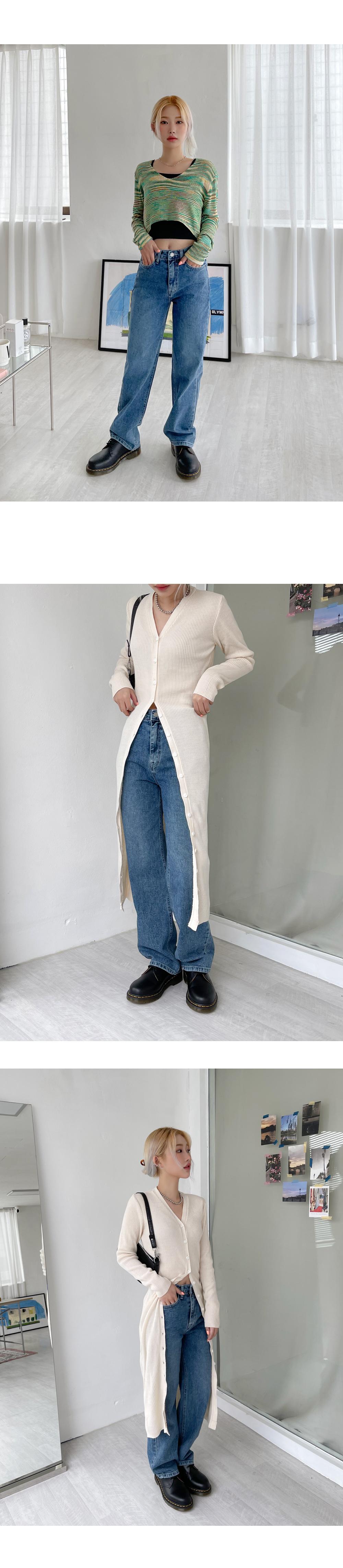 Mar wide straight denim trousers
