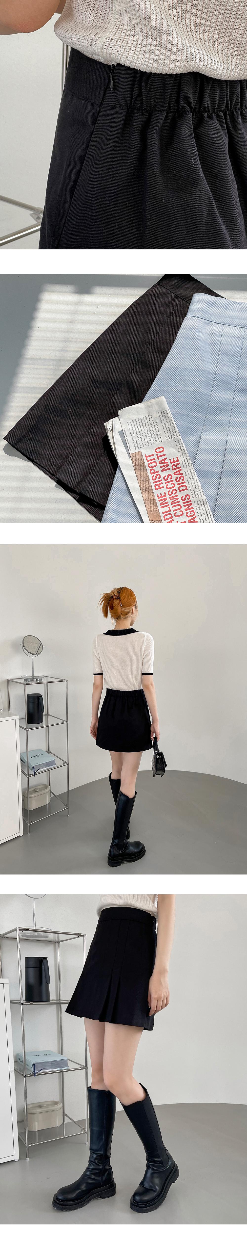 Grami banding pleated mini skirt