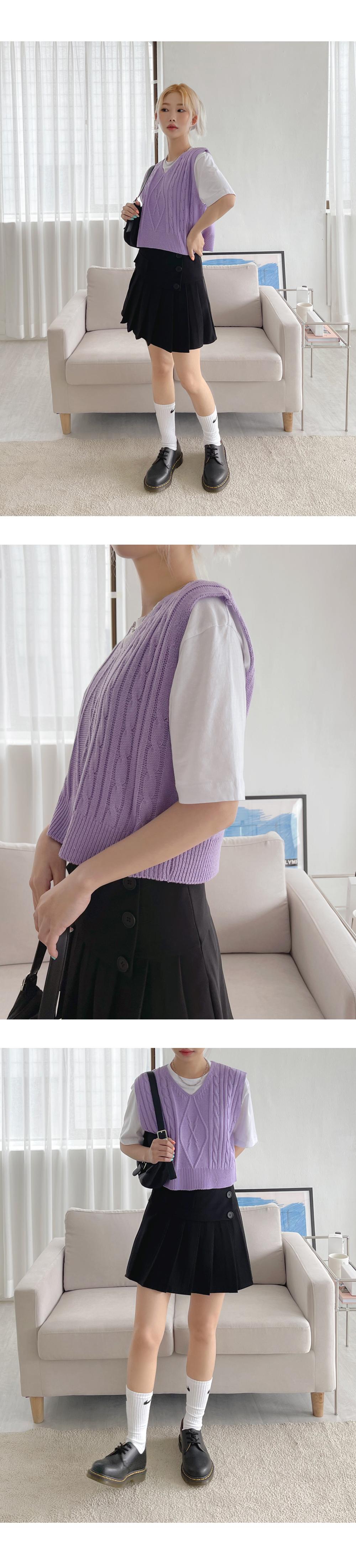 麻花短版針織背心