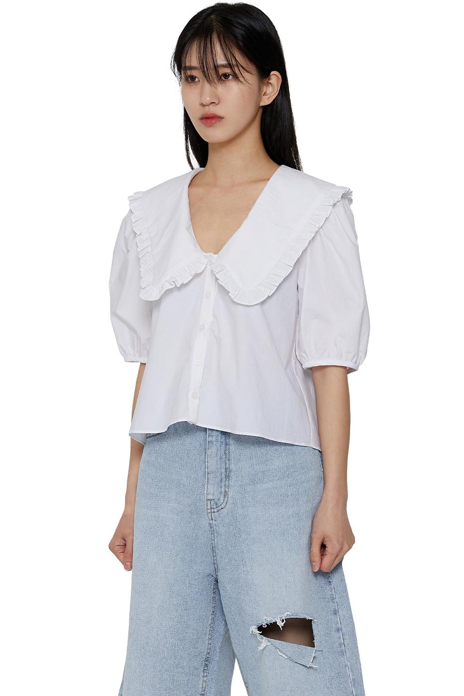 Baby trim big collar blouse