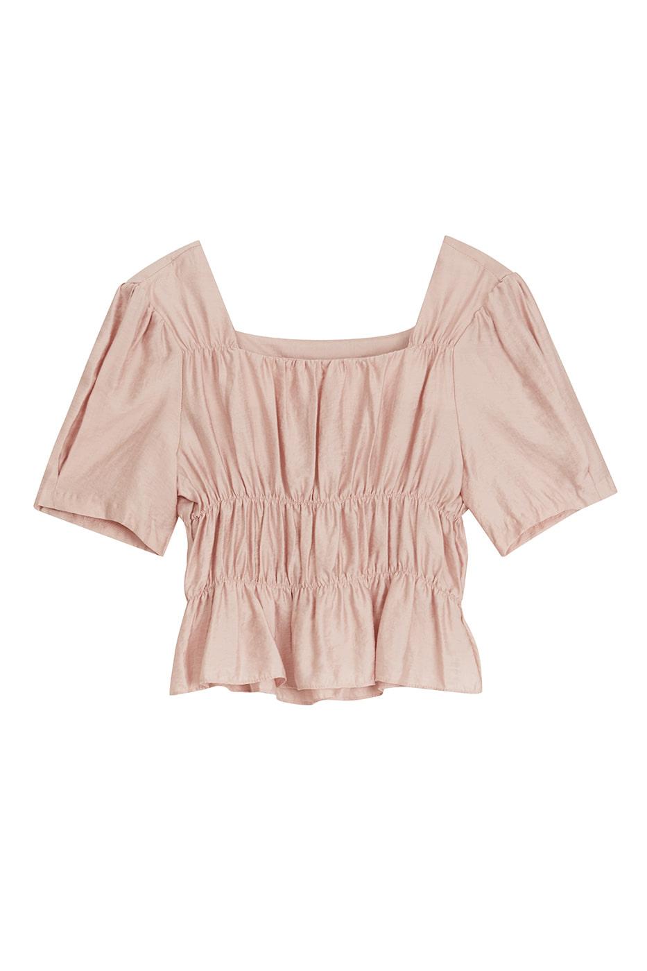 Rosy Shine shirred blouse