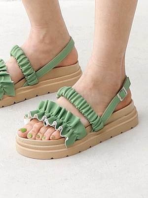 Isshu Shirring Ruffle Strap Sling Bag Full Heel Sandal 9116
