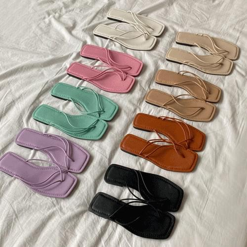 Soft Square Strap Mule Slippers Poli S#YW328