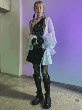 Flared bianchi mini skirt