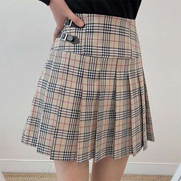 Tam Tam buckle-check pleated skirt