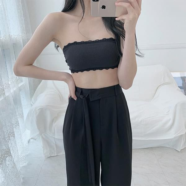Shoulder strapless lace buckle bralette bra top
