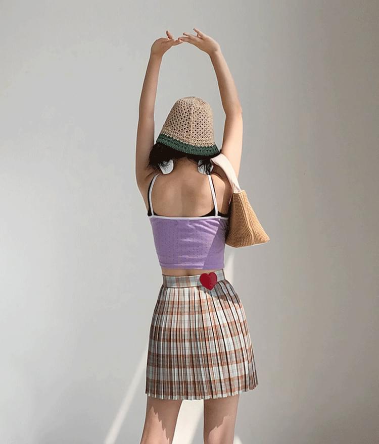 Heart Shirred Sleeveless Top Heart Pleated Skirt (Brown Check)
