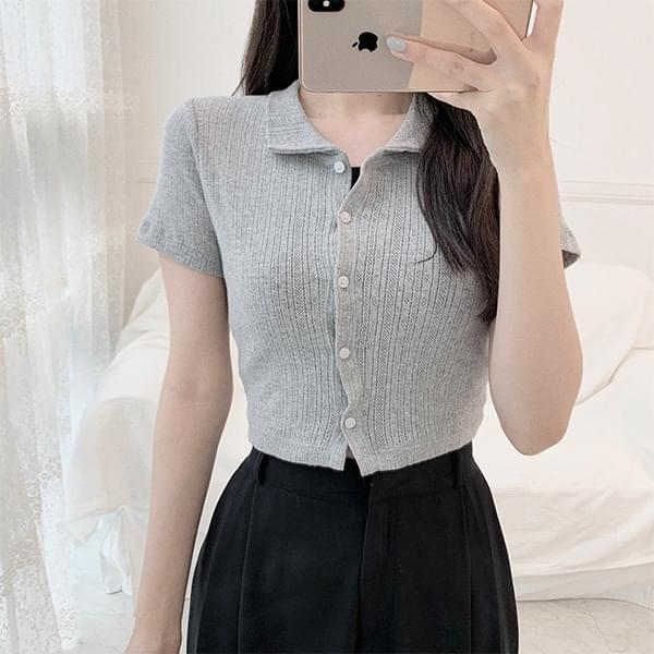 Collar Ribbed crop cardigan