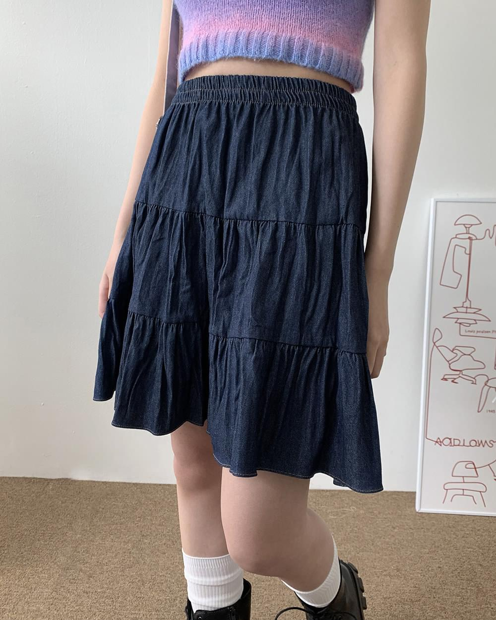Pudding Denim Pleated Cancan Flared Skirt