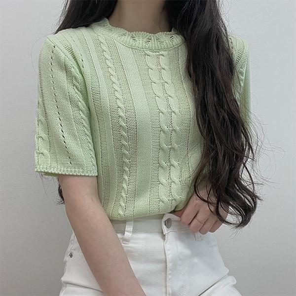 Daquazu Twisted Short Sleeve Knitwear 針織衫