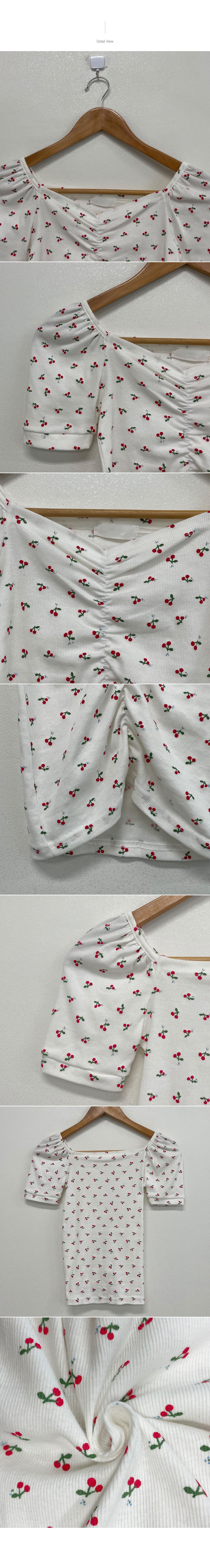 Fresh Cherry Cherry Puff Shirring Short Sleeve T-Shirt
