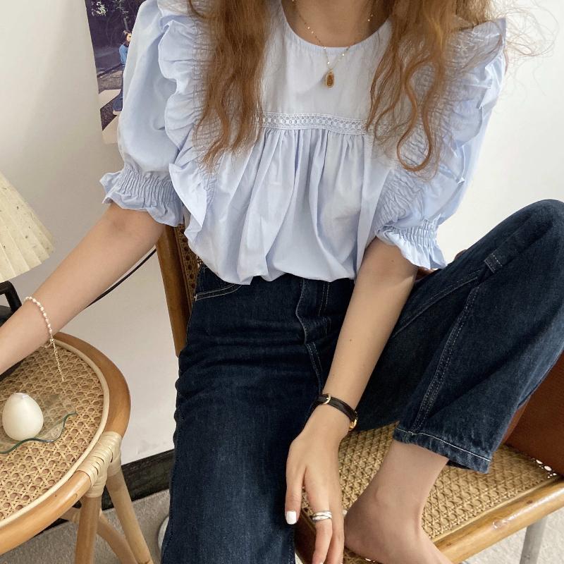 bl4420 Toms frill short sleeve blouse
