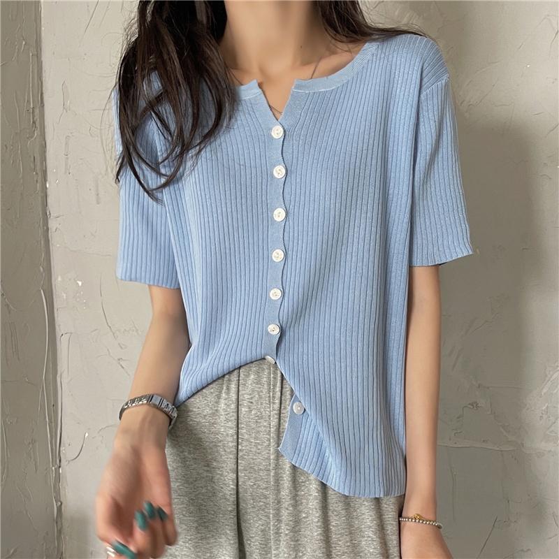 kn4504 Ravy Short Sleeve Knitwear Top