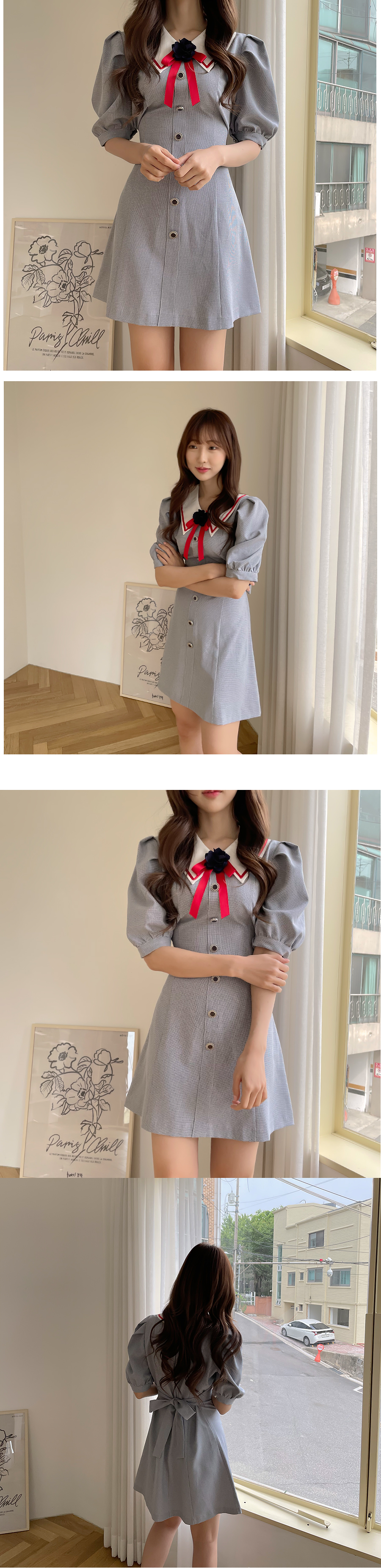 Penny Corsage Collar Dress 2color