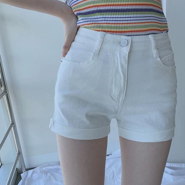 Sticky Half High Waist Slim Fit Cotton Shorts
