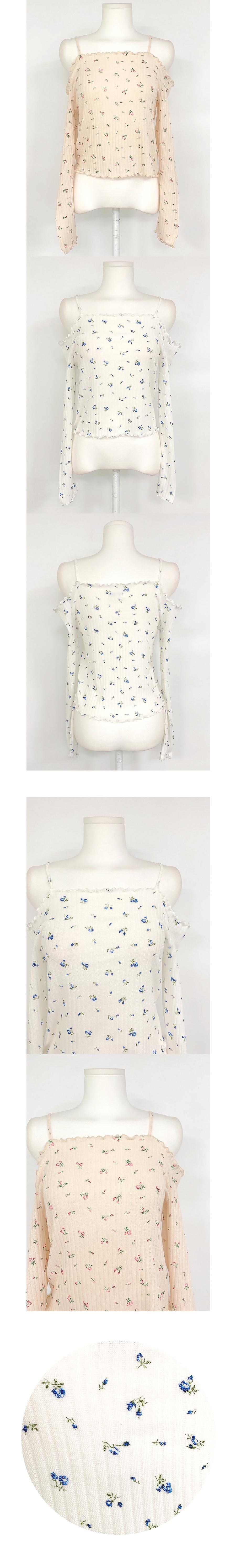 Blissom Flower Off Shoulder Knitwear 2color