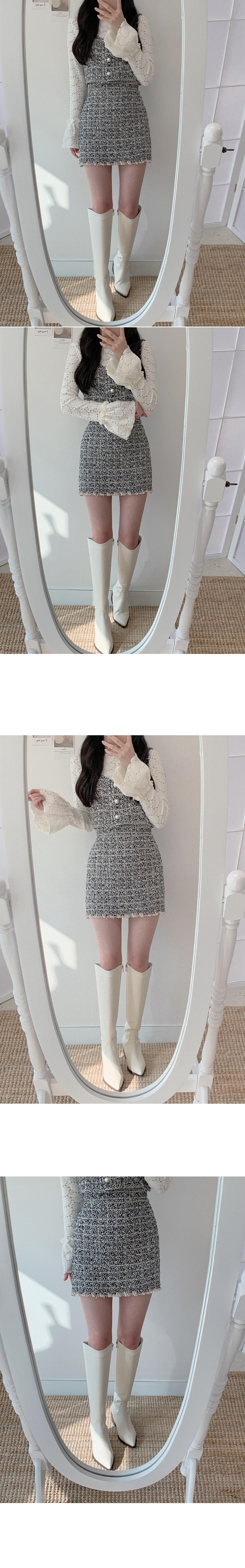 Pom pom tweed mini skirt