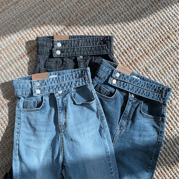 韓國空運 - Ant Waist High Waist Double Belt Skinny Denim Pants 牛仔褲