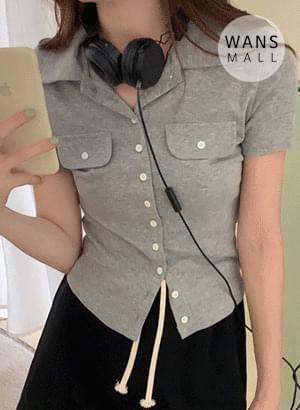 韓國空運 - tt4617 Blinyou buttoned T-shirt 短袖上衣