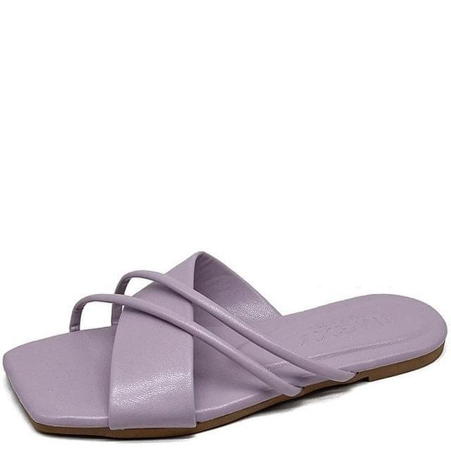 韓國空運 - Cross Slim Strap Mule Slippers Purple 涼鞋