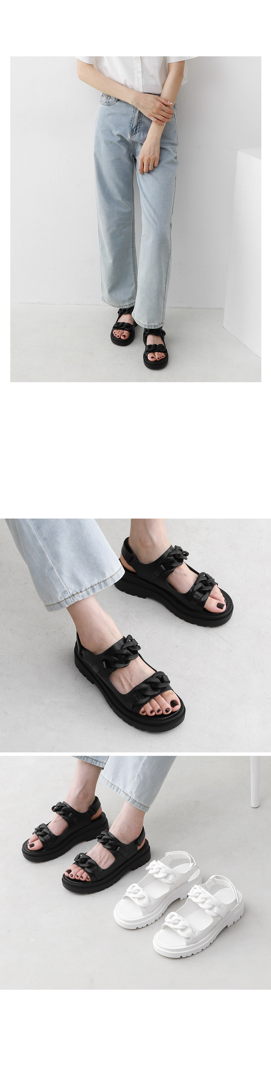 Isshu Big Chain Decoration Two Straps Whole Heel Sandals 10966 ♡First Sold Out♡