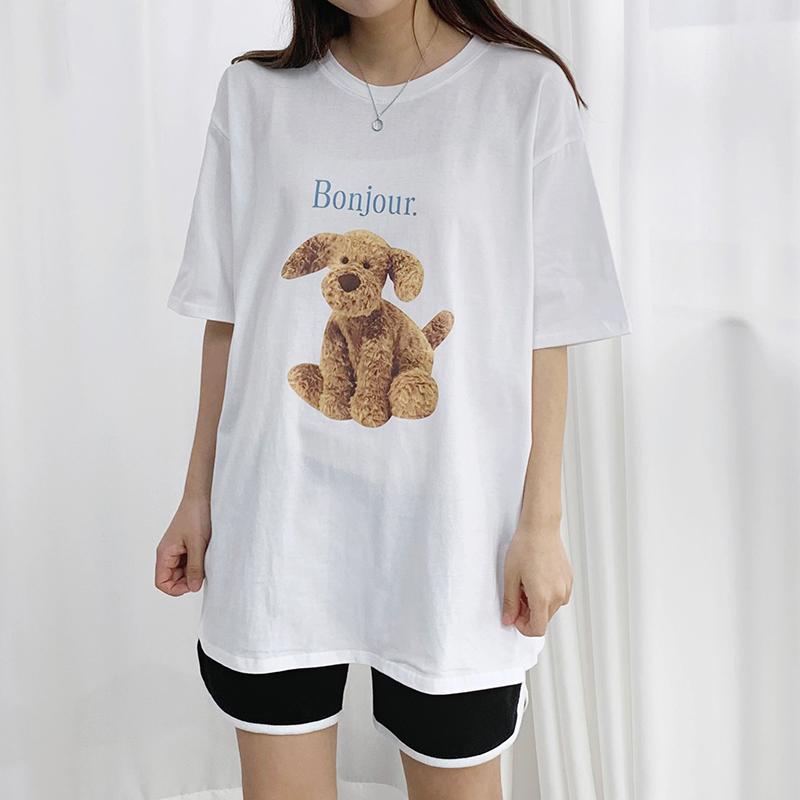 Bonjour Puppy Printing Short Sleeve Tee