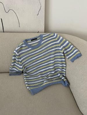 Barney Semi-Crop Striped Knitwear