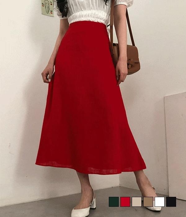 Grass linen long skirt