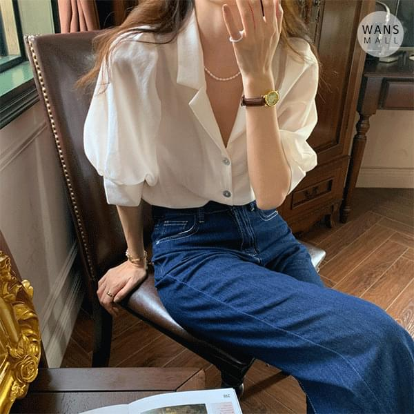 bl4640 Warry shoulder puff short sleeve blouse (Delayed delivery)